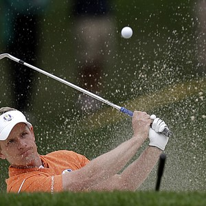 Europe's Luke Donald hits during a practice round at the Ryder Cup PGA golf tournament Tuesday, Sept. 25, 2012, at the Medinah Country Club in Medinah, Ill.