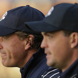 USA's Phil Mickelson and Keegan Bradley make their way up the first fairway during a foursomes match at the Ryder Cup PGA golf tournament Saturday, Sept. 29, 2012, at the Medinah Country Club in Medinah, Ill.