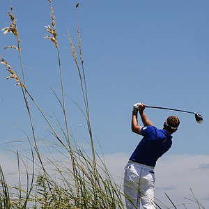 Luke Donald, of England, hits from the fourth tee during the first round of the PGA Championship golf tournament on the Ocean Course of the Kiawah Island Golf Resort in Kiawah Island, S.C., Thursday, Aug. 9, 2012.