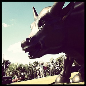 The Wall Street bull on the first and tenth tee at Isleworth Collegiate Invitational.