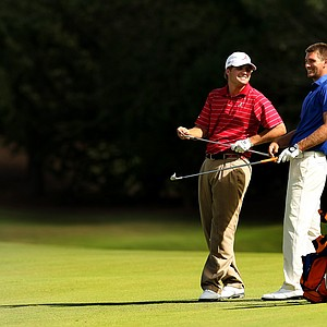 Alabama's Bobby Wyatt and Florida's T. J. Vogel chat while waiting during the Isleworth Collegiate Invitational. California won the title.