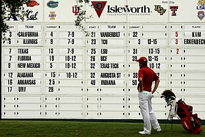 The giant scoreboard at No. 18 during the Isleworth Collegiate Invitational. California won the tournament, their fifth win of the fall season.