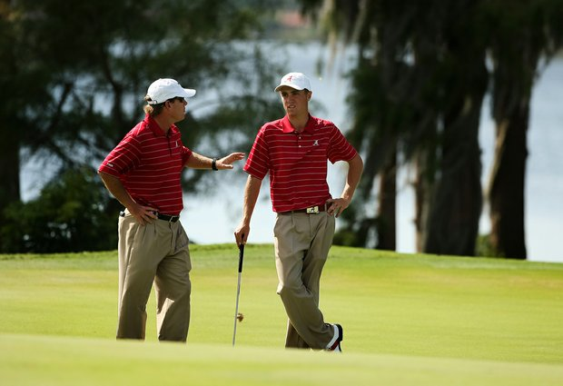 Alabama's Justin Thomas with head coach Jay Seawell at the Isleworth Collegiate Invitational. Thomas finished the day T2 individually.