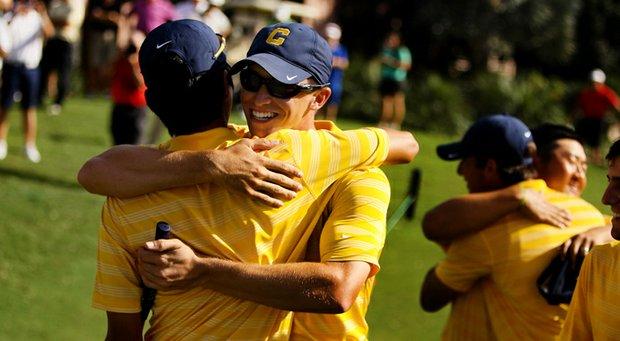 Cal's Brandon Hagy congratulates Michael Kim at the Isleworth Collegiate Invitational. Cal also won the event as a team.