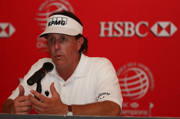 Phil Mickelson speaks with the media prior to the start of the WGC HSBC Champions at the Mission Hills Resort.