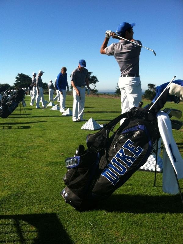 Duke on the range prior to the practice round at Cypress Point