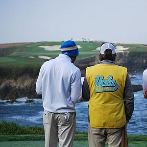 Manav Shah and Lorens Chan work on the 16th at Cypress Point during the first round of matches at the Stanford Classic.
