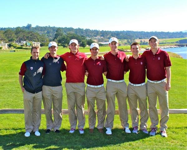 The Standford men's golf poses for a picture at Pebble Beach.
