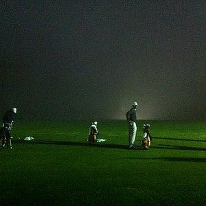 Texas men's golf team on the driving range prior to the start of the Stanford Classic.