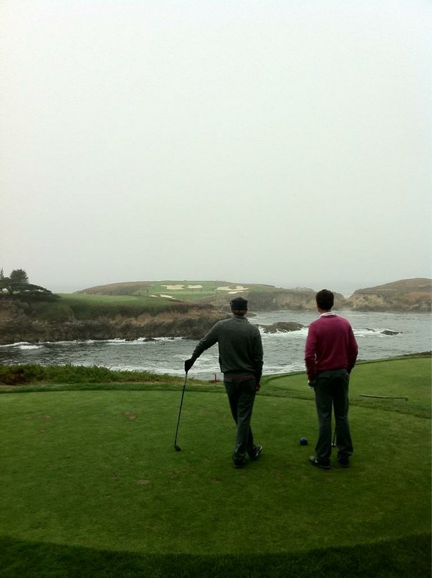No. 1-ranked amateur Chris Williams and Washington Huskies teammate Trevor Simsby size up No. 16 at Cypress Point.