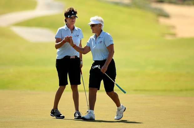 Rosie Jones with playing partner Patty Sheehan during the ISPS Handa Cup at Reunion Resort. Jones had 13 wins on tour and Sheehan accounted for 35.