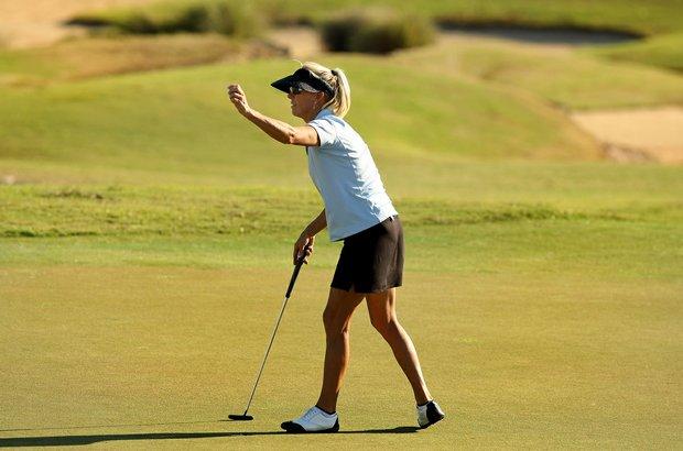 Cindy Rarick at No. 18 during the ISPS Handa Cup at Reunion Resort. Rarick won 5 times on the LPGA.