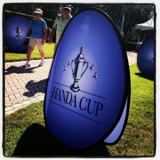 USA and World are tied at 12 points a piece during the ISPS Handa Cup at Reunion Resort.