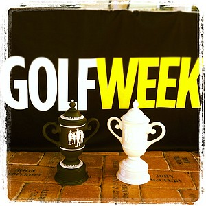 Trophies at the Golfweek East Coast Junior Invitational at Celebration Golf Club. Zachary Healy won for the boys and Cindy Feng won for the girls.