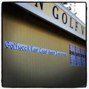 The scoreboard at the Golfweek East Coast Junior Invitational at Celebration Golf Club.