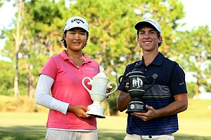 Winners of the Golfweek East Coast Junior Invitational at Celebration Golf Club, Zachary Healy, right, and Cindy Feng.
