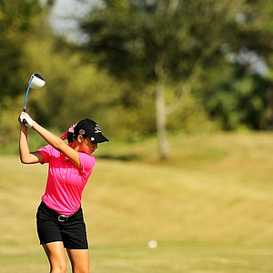 Cheyenne Knight hits her tee shot at No. 9 at the Golfweek East Coast Junior Invitational at Celebration Golf Club.