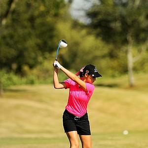Cheyenne Knight hits her tee shot at No. 9 at the Golfweek East Coast Junior Invitational at Celebration Golf Club.