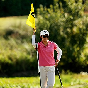 Cindy Feng waits at No. 9 at the Golfweek East Coast Junior Invitational at Celebration Golf Club.