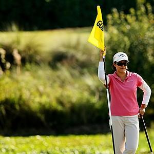 Cindy Feng waits at No. 9 at the Golfweek East Coast Junior Invitational at Celebration Golf Club.