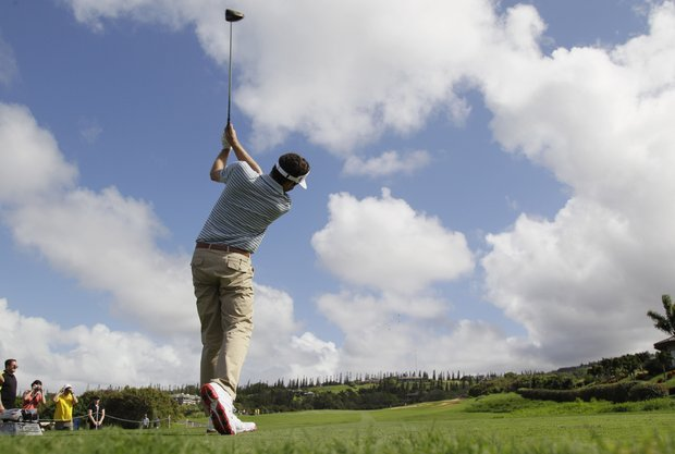 Keegan Bradley hits from the third tee during the pro-am event of the Tournament of Champions PGA Tour golf tournament in Kapalua, Hawaii on Thursday, Jan. 5, 2012.