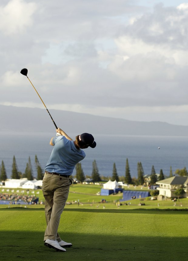 Webb Simpson hits from the 18th tee during the third round of the Tournament of Champions PGA Tour golf tournament in Kapalua, Hawaii, Sunday, Jan. 8, 2012. Simpson finished the day tied for second after shooting a 4-under-par 69 to finish at total 14-under-par.