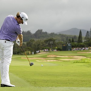 Webb Simpson hits from the 14th tee during the final round of the Hyundai Tournament of Champions PGA Tour golf tournament in Kapalua, Hawaii, Monday, Jan. 9, 2012. Simpson finished tied for third.