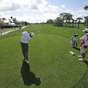 Lee Westwood, of England, tees off on the 11th hole during a pro-am event before the Honda Classic golf tournament in Palm Beach Gardens, Fla., Wednesday, Feb. 29, 2012.