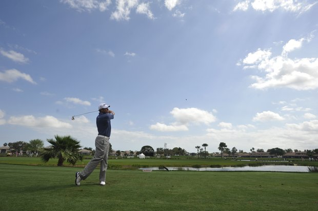 Lee Westwood, of England, tees off on the fourth hole during the first round of the Honda Classic golf tournament in Palm Beach Gardens, Fla., Thursday, March 1, 2012.