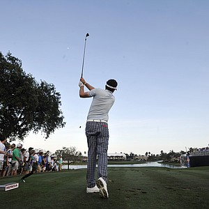 Keegan Bradley tees off on the 17th hole during the third round of the Honda Classic golf tournament in Palm Beach Gardens, Fla., Saturday, March 3, 2012.