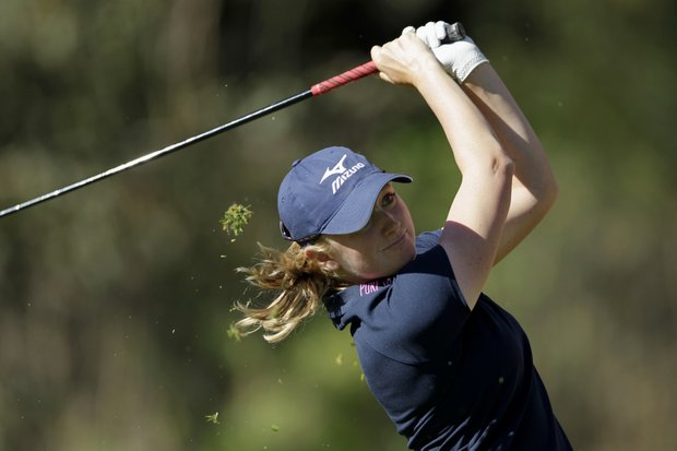 Stacy Lewis hits her tee shot on the 14th hole during the first round of the Kia Classic LPGA golf tournament Thursday, March 22, 2012, in Carlsbad, Calif.
