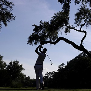 Ian Poulter, of England, hits from the sixth tee during the second round of the Players Championship golf tournament at TPC Sawgrass, Friday, May 11, 2012, in Ponte Vedra Beach, Fla.