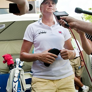 Stacy Lewis answers questions from the media after completing the final round of the LPGA NW Arkansas Championship golf tournament in Rogers, Ark., Sunday, July 1, 2012.