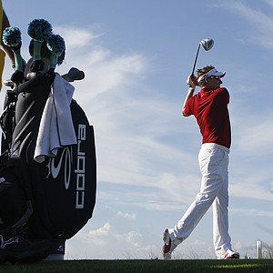 Ian Poulter of England watches his drive from the 12th tee during the first round of the PGA Championship golf tournament on the Ocean Course of the Kiawah Island Golf Resort in Kiawah Island, S.C., Thursday, Aug. 9, 2012.