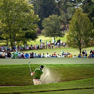 Keegan Bradley hits out of the sand trap on the second hole during the second round of the Tour Championship golf tournament Friday, Sept. 21, 2012, in Atlanta.