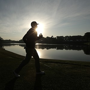 USA's Keegan Bradley walks up the second hole during a foursomes match at the Ryder Cup PGA golf tournament Saturday, Sept. 29, 2012, at the Medinah Country Club in Medinah, Ill.