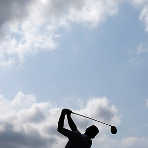 USA's Keegan Bradley hits a drive on the third hole during a four-ball match at the Ryder Cup PGA golf tournament Friday, Sept. 28, 2012, at the Medinah Country Club in Medinah, Ill.