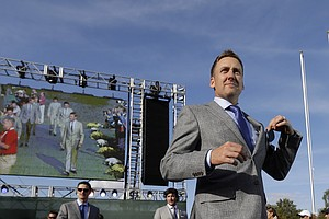 Europe's Ian Poulter is introduced during the opening ceremony at the Ryder Cup PGA golf tournament Thursday, Sept. 27, 2012, at the Medinah Country Club in Medinah, Ill.