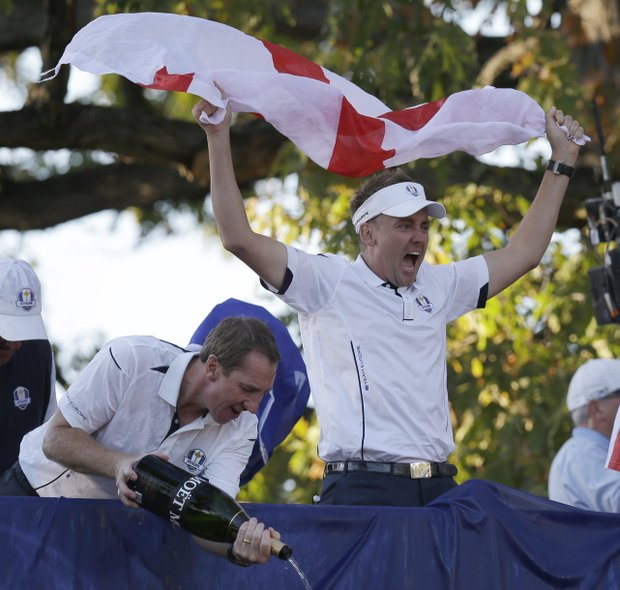 Europe's Ian Poulter celebrates after winning the Ryder Cup PGA golf tournament Sunday, Sept. 30, 2012, at the Medinah Country Club in Medinah, Ill.