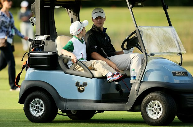 PGA Tour player Sean O'Hair with is son Luke, 5, during the PGA Tour Father/Child Tournament on the Oak Trail Course.
