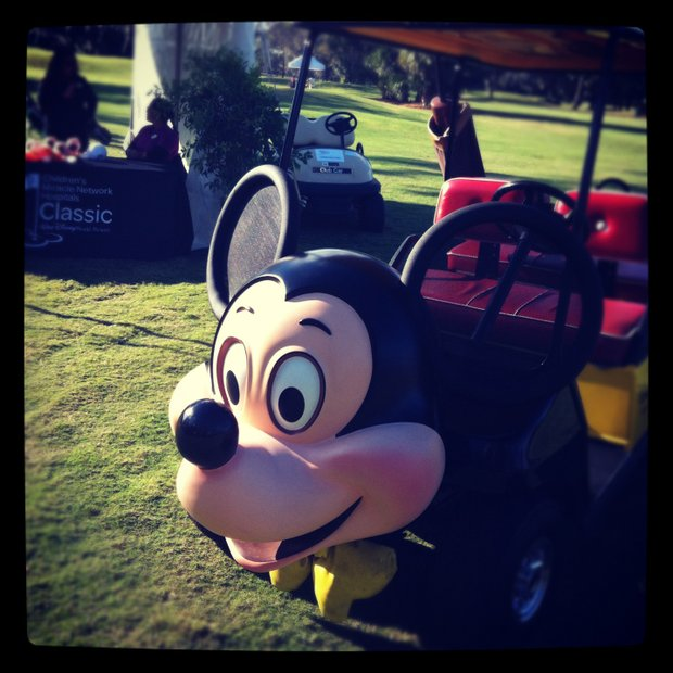 A Mickey Mouse golf cart during the PGA Tour Father/Child Tournament on the Oak Trail Course.