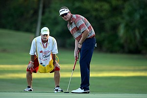 Charlie Beljan and his caddie Rick Adcox at No. 17 on the Palm Course during the Children's Miracle Network Hospitals Classic.