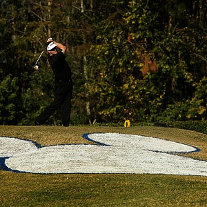 Charlie Beljan hits his tee shot at No. 17 on the Magnolia Course during the final round of the Children's Miracle Network Hospitals Classic.
