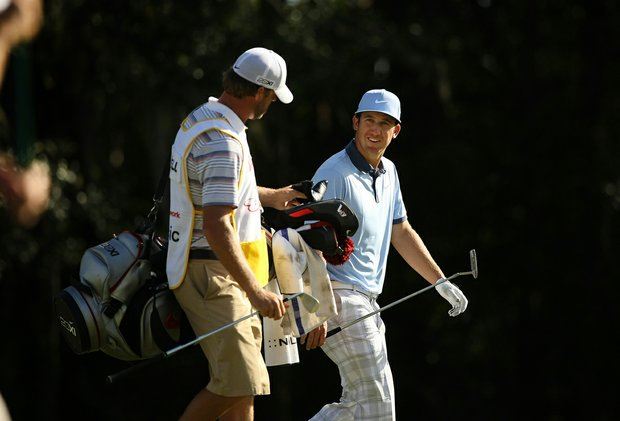 Kevin Chappell walks up No. 18 with his caddie on the Magnolia Course during the final round of the Children's Miracle Network Hospitals Classic.