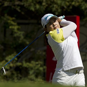 South Korea's Inbee Park watches her shot after she tees off on the 6th hole during the fourth day of the LPGA Lorena Ochoa Invitational at the Guadalajara Country Club in Guadalajara, Mexico, Sunday, Nov. 11, 2012.