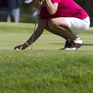 U.S. Cristie Kerr lines up her putt on the 1th green during the fourth day of the LPGA Lorena Ochoa Invitational at the Guadalajara Country Club in Guadalajara, Mexico, Sunday, Nov. 11, 2012.