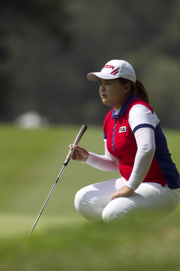 South Korea's Inbee Park lines up her putt on the fourth green during the third day of the LPGA Lorena Ochoa Invitational at the Guadalajara Country Club in Guadalajara, Mexico, Saturday, Nov. 10, 2012.