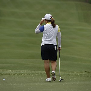 Park Inbee of South Korea, follows her ball on the 9th hole during the fourth round of the Taiwan Championship at the Sunrise Golf & Country Club, Sunday, Oct. 28, 2012 in Yang Mei, Taiwan.