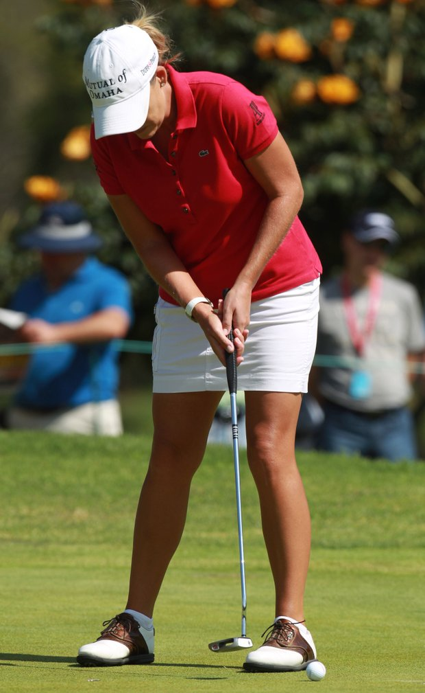 U.S. Cristie Kerr putts on the 5th hole during the fourth day of the LPGA Lorena Ochoa Invitational at the Guadalajara Country Club in Guadalajara, Mexico, Sunday, Nov. 11, 2012.
