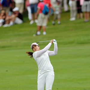 Inbee Park of South Korea plays the 18th hole during the Evian Masters women's golf tournament in Evian, eastern France, Sunday, July 29, 2012.
